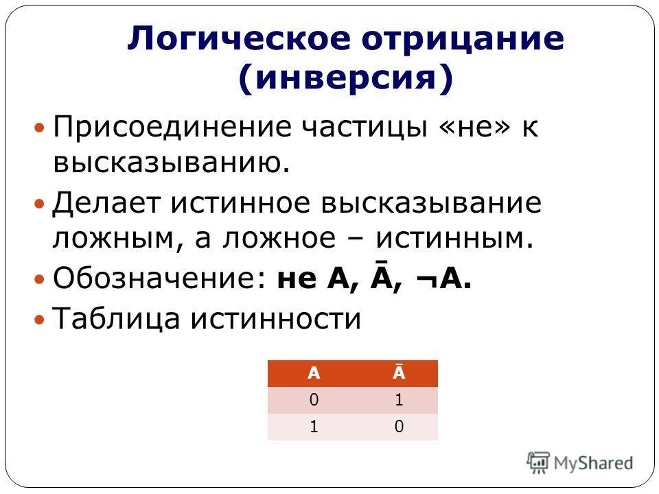 Логическое отрицание (инверсия) Присоединение частицы «не» к высказыванию. Делает истинное высказывание ложным, а ложное – истинным. Обозначение: не А, Ā, ¬А. Таблица истинности АĀ 01 10