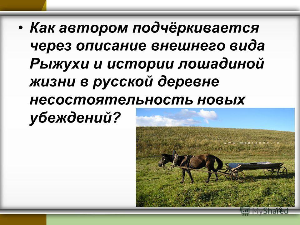 Как автором подчёркивается через описание внешнего вида Рыжухи и истории лошадиной жизни в русской деревне несостоятельность новых убеждений? 13