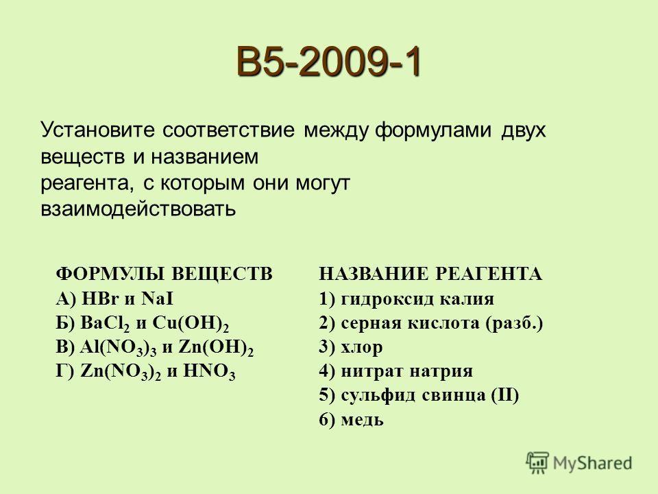 B5-2009-1 ФОРМУЛЫ ВЕЩЕСТВ НАЗВАНИЕ РЕАГЕНТА А) HBr и NaI 1) гидроксид калия Б) BaCl 2 и Cu(OH) 2 2) серная кислота (разб.) В) Al(NO 3 ) 3 и Zn(OH) 2 3) хлор Г) Zn(NO 3 ) 2 и HNO 3 4) нитрат натрия 5) сульфид свинца (II) 6) медь Установите соответстви