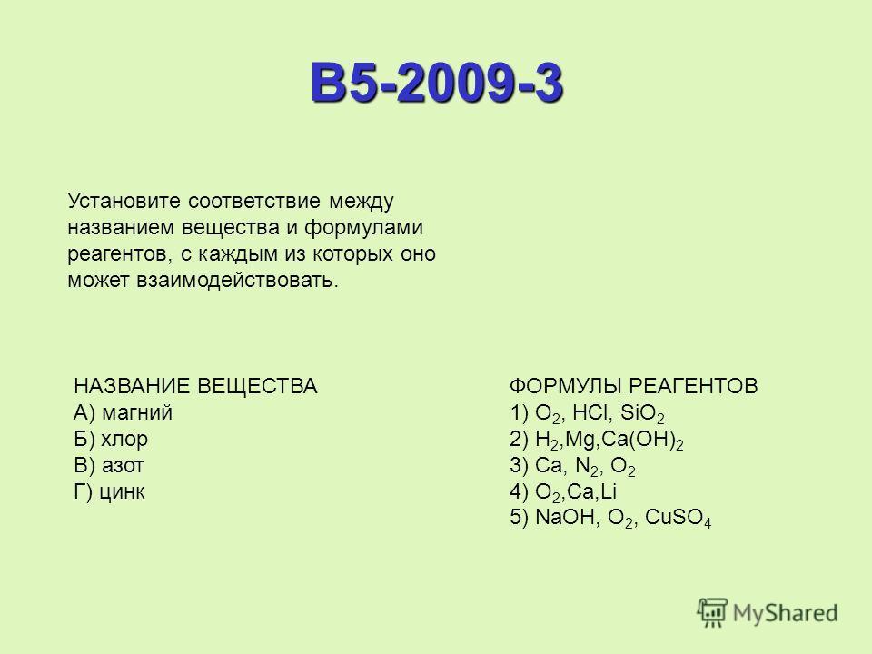 B5-2009-3 Установите соответствие между названием вещества и формулами реагентов, с каждым из которых оно может взаимодействовать. НАЗВАНИЕ ВЕЩЕСТВА ФОРМУЛЫ РЕАГЕНТОВ А) магний 1) O 2, HCl, SiO 2 Б) хлор 2) H 2,Mg,Ca(OH) 2 В) азот 3) Ca, N 2, O 2 Г)
