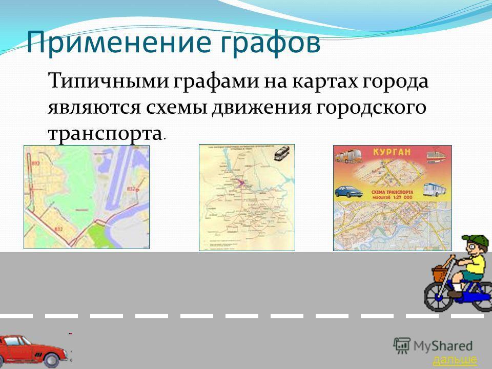 Применение графов Типичными графами на картах города являются схемы движения городского транспорта. дальше