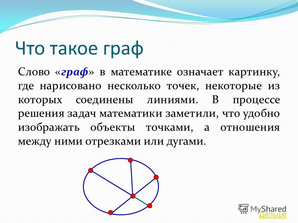 Что такое граф Слово «граф» в математике означает картинку, где нарисовано несколько точек, некоторые из которых соединены линиями. В процессе решения задач математики заметили, что удобно изображать объекты точками, а отношения между ними отрезками