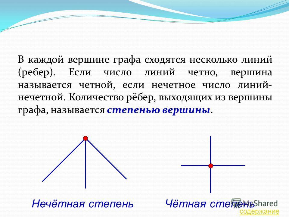 В каждой вершине графа сходятся несколько линий (ребер). Если число линий четно, вершина называется четной, если нечетное число линий- нечетной. Количество рёбер, выходящих из вершины графа, называется степенью вершины. Нечётная степеньЧётная степень