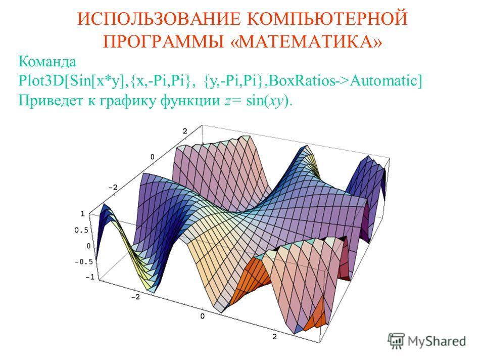ИСПОЛЬЗОВАНИЕ КОМПЬЮТЕРНОЙ ПРОГРАММЫ «МАТЕМАТИКА» Команда Plot3D[Sin[x*y],{x,-Pi,Pi}, {y,-Pi,Pi},BoxRatios->Automatic] Приведет к графику функции z= sin(xy).