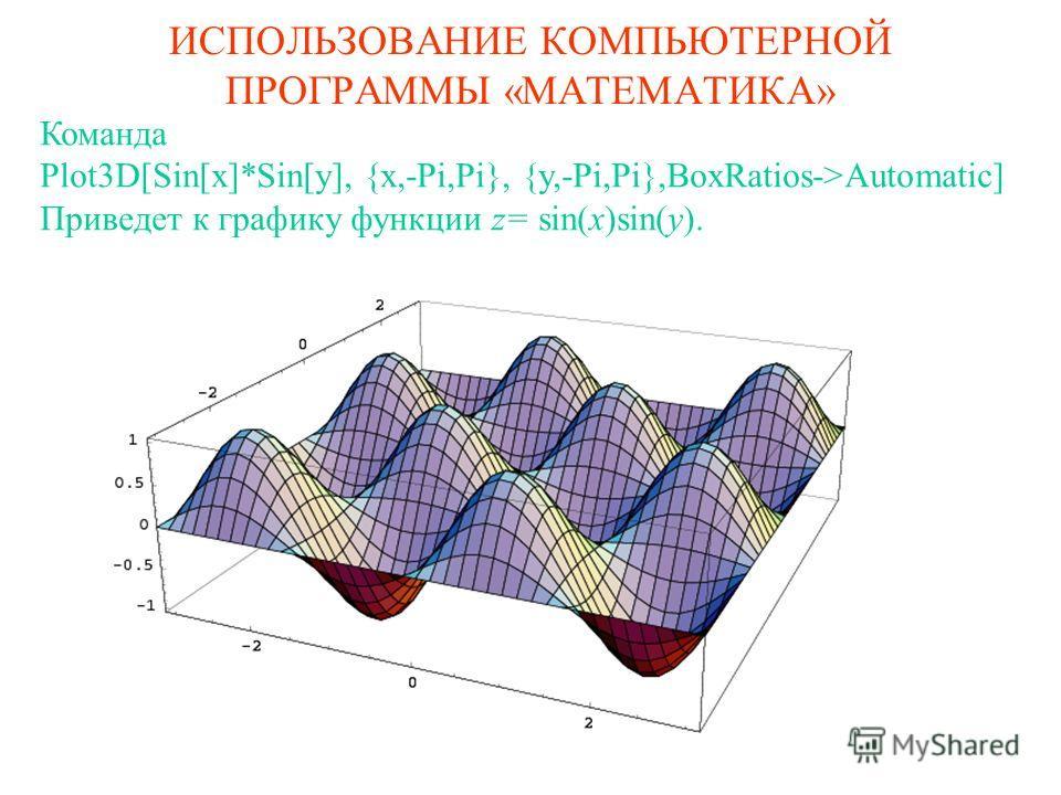 ИСПОЛЬЗОВАНИЕ КОМПЬЮТЕРНОЙ ПРОГРАММЫ «МАТЕМАТИКА» Команда Plot3D[Sin[x]*Sin[y], {x,-Pi,Pi}, {y,-Pi,Pi},BoxRatios->Automatic] Приведет к графику функции z= sin(x)sin(y).