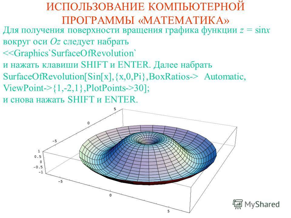 ИСПОЛЬЗОВАНИЕ КОМПЬЮТЕРНОЙ ПРОГРАММЫ «МАТЕМАТИКА» Для получения поверхности вращения графика функции z = sinx вокруг оси Oz следует набрать {1,-2,1},PlotPoints->30]; и снова нажать SHIFT и ENTER.