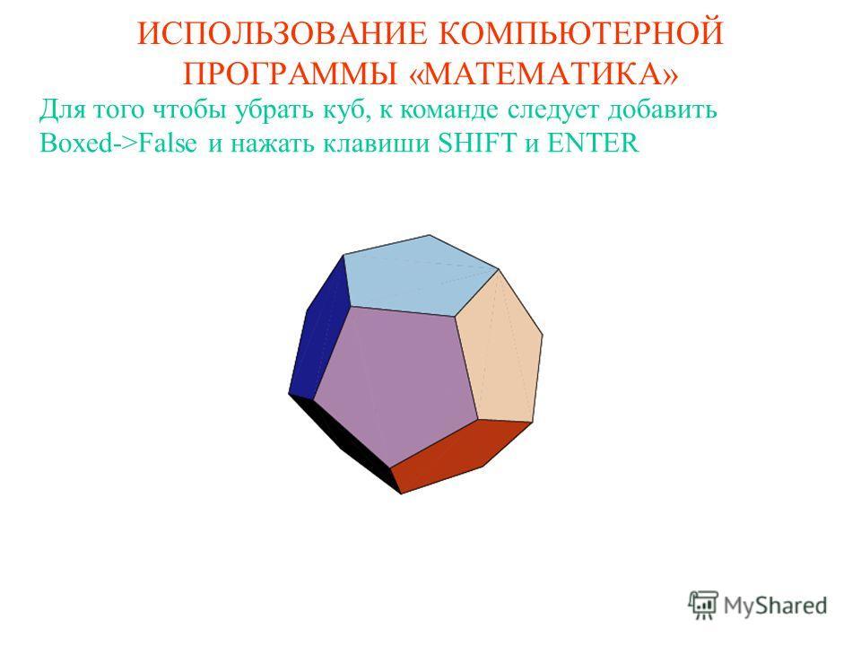 ИСПОЛЬЗОВАНИЕ КОМПЬЮТЕРНОЙ ПРОГРАММЫ «МАТЕМАТИКА» Для того чтобы убрать куб, к команде следует добавить Boxed->False и нажать клавиши SHIFT и ENTER
