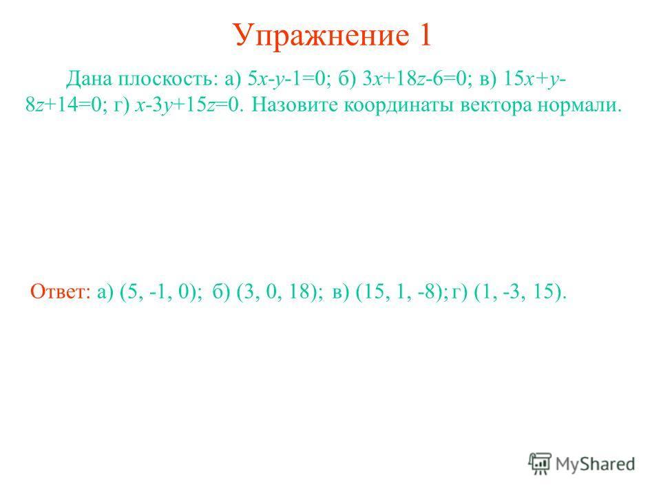 Упражнение 1 Дана плоскость: а) 5x-y-1=0; б) 3x+18z-6=0; в) 15x+y- 8z+14=0; г) x-3y+15z=0. Назовите координаты вектора нормали. Ответ: а) (5, -1, 0);б) (3, 0, 18);в) (15, 1, -8);г) (1, -3, 15).