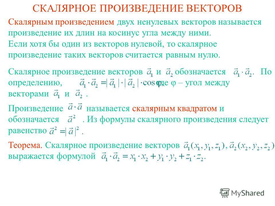 СКАЛЯРНОЕ ПРОИЗВЕДЕНИЕ ВЕКТОРОВ Скалярным произведением двух ненулевых векторов называется произведение их длин на косинус угла между ними. Если хотя бы один из векторов нулевой, то скалярное произведение таких векторов считается равным нулю. Скалярн