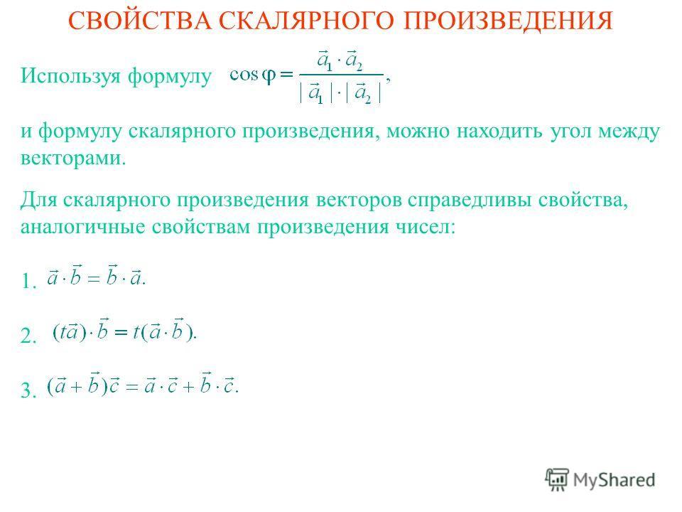 СВОЙСТВА СКАЛЯРНОГО ПРОИЗВЕДЕНИЯ Для скалярного произведения векторов справедливы свойства, аналогичные свойствам произведения чисел: 1. 2. 3. Используя формулу и формулу скалярного произведения, можно находить угол между векторами.