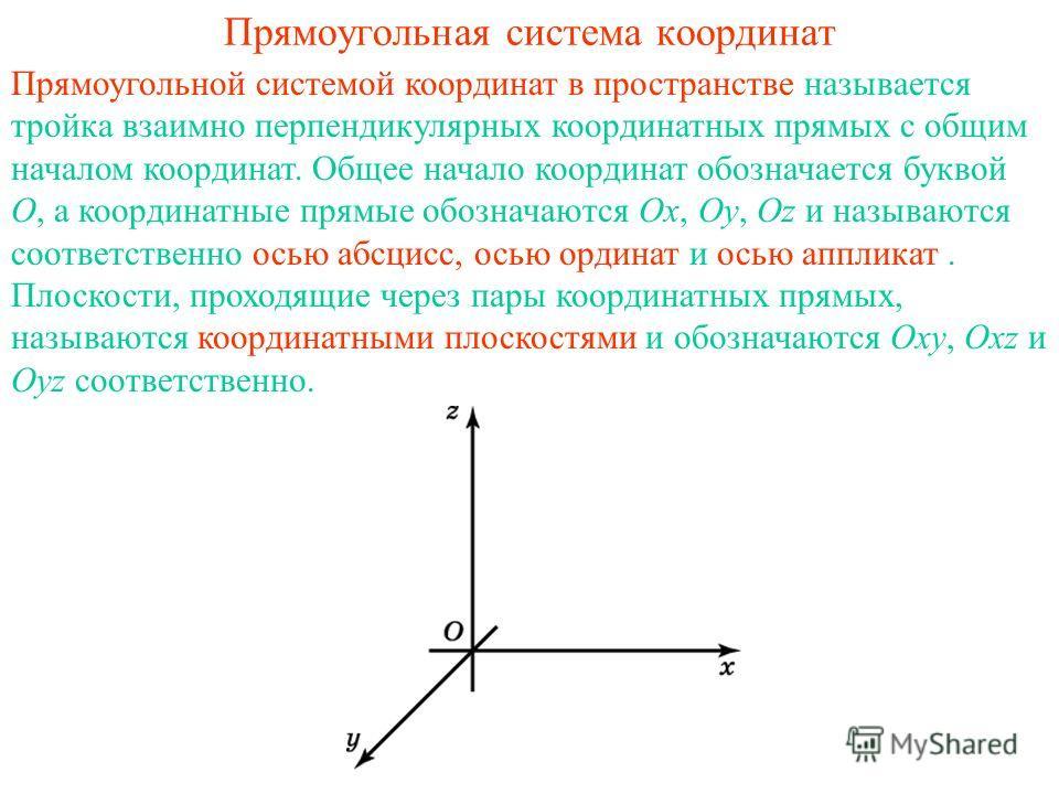 Прямоугольная система координат Прямоугольной системой координат в пространстве называется тройка взаимно перпендикулярных координатных прямых с общим началом координат. Общее начало координат обозначается буквой O, а координатные прямые обозначаются