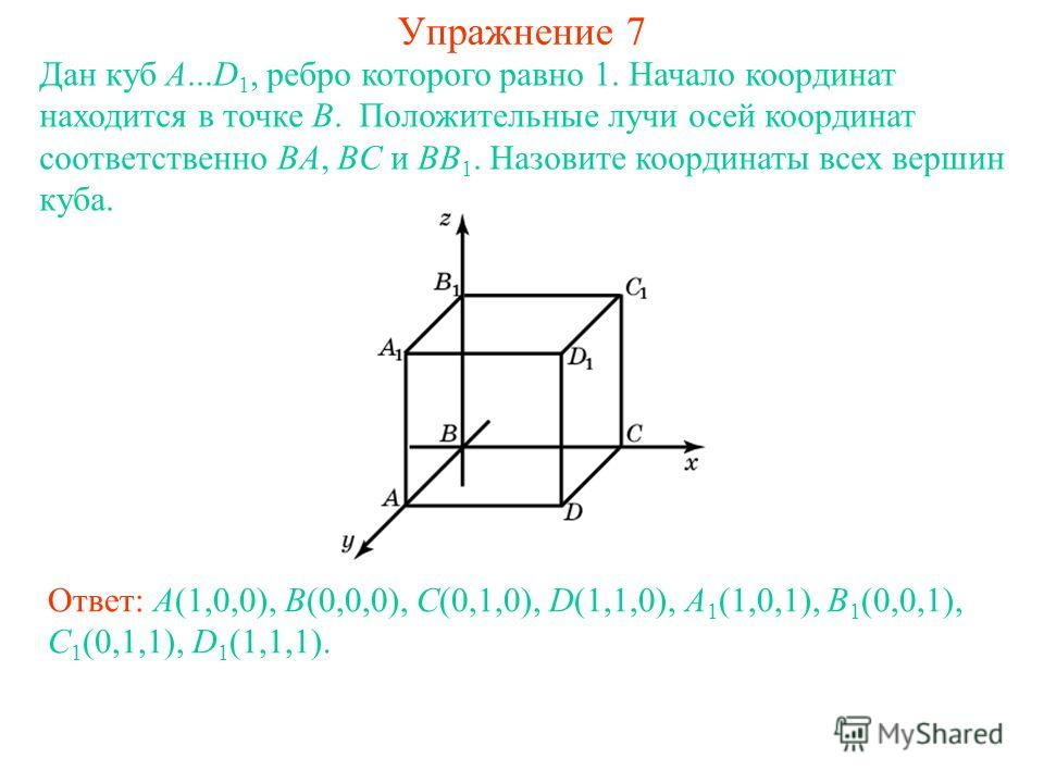 Упражнение 7 Дан куб A...D 1, ребро которого равно 1. Начало координат находится в точке B. Положительные лучи осей координат соответственно BA, BC и BB 1. Назовите координаты всех вершин куба. Ответ: A(1,0,0), B(0,0,0), C(0,1,0), D(1,1,0), A 1 (1,0,