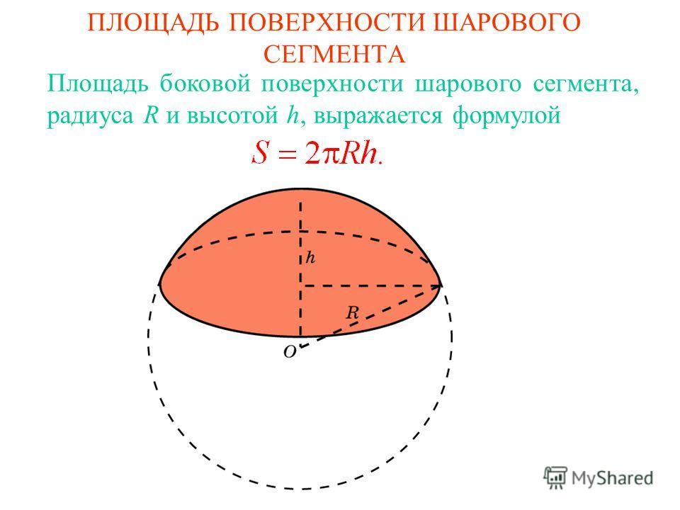 ПЛОЩАДЬ ПОВЕРХНОСТИ ШАРОВОГО СЕГМЕНТА Площадь боковой поверхности шарового сегмента, радиуса R и высотой h, выражается формулой