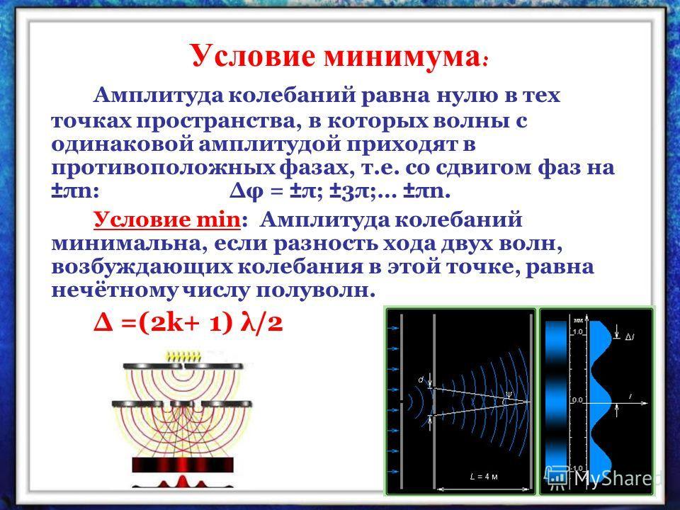 Условие минимума : Амплитуда колебаний равна нулю в тех точках пространства, в которых волны с одинаковой амплитудой приходят в противоположных фазах, т.е. со сдвигом фаз на ±πn: φ = ±π; ±3π;… ±πn. Условие min: Амплитуда колебаний минимальна, если ра