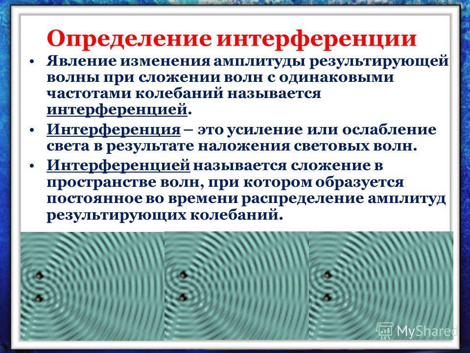 Определение интерференции Явление изменения амплитуды результирующей волны при сложении волн с одинаковыми частотами колебаний называется интерференцией. Интерференция – это усиление или ослабление света в результате наложения световых волн. Интерфер