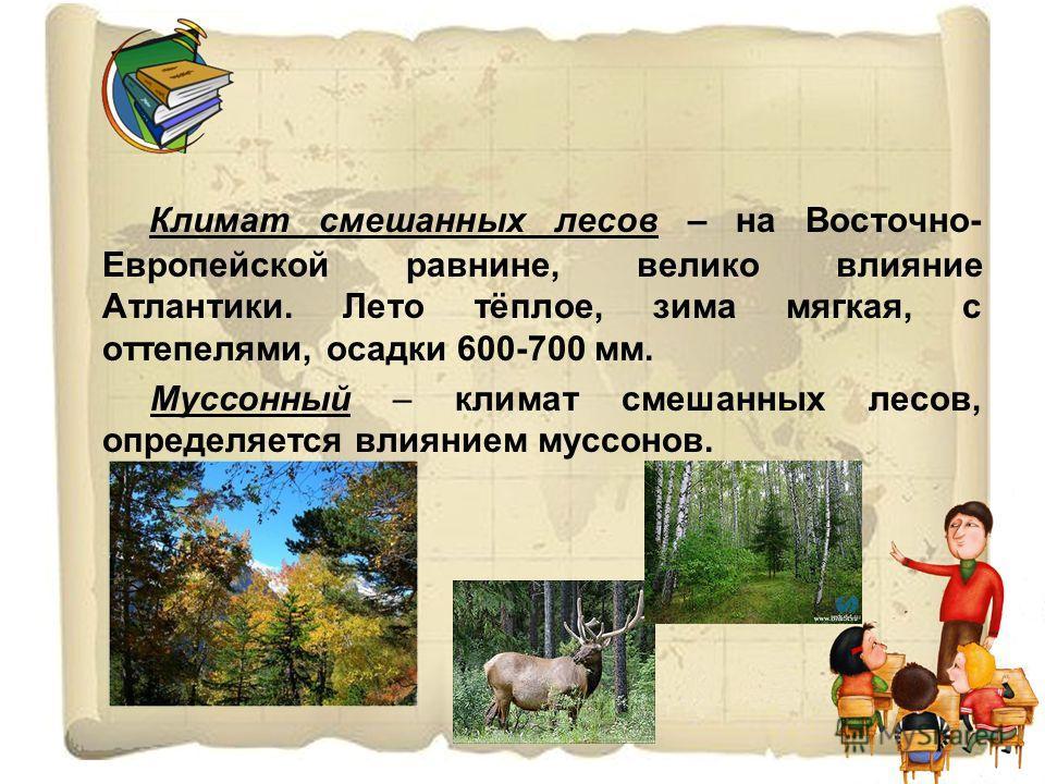 Климат смешанных лесов – на Восточно- Европейской равнине, велико влияние Атлантики. Лето тёплое, зима мягкая, с оттепелями, осадки 600-700 мм. Муссонный – климат смешанных лесов, определяется влиянием муссонов.