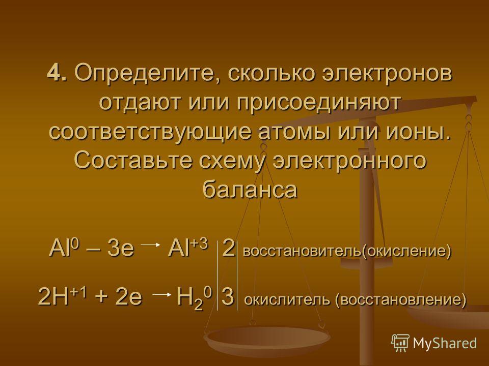 4. Определите, сколько электронов отдают или присоединяют соответствующие атомы или ионы. Составьте схему электронного баланса Al 0 – 3e Al +3 2 восстановитель(окисление) 2H +1 + 2e H 2 0 3 окислитель (восстановление)