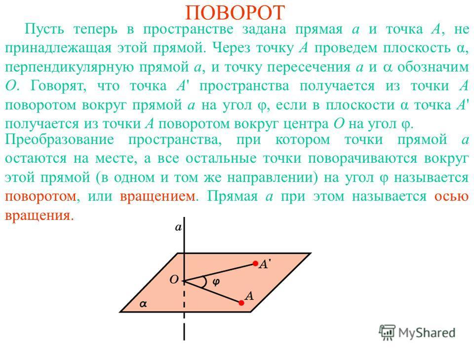 ПОВОРОТ Пусть теперь в пространстве задана прямая a и точка A, не принадлежащая этой прямой. Через точку A проведем плоскость α, перпендикулярную прямой a, и точку пересечения a и обозначим O. Говорят, что точка A' пространства получается из точки A