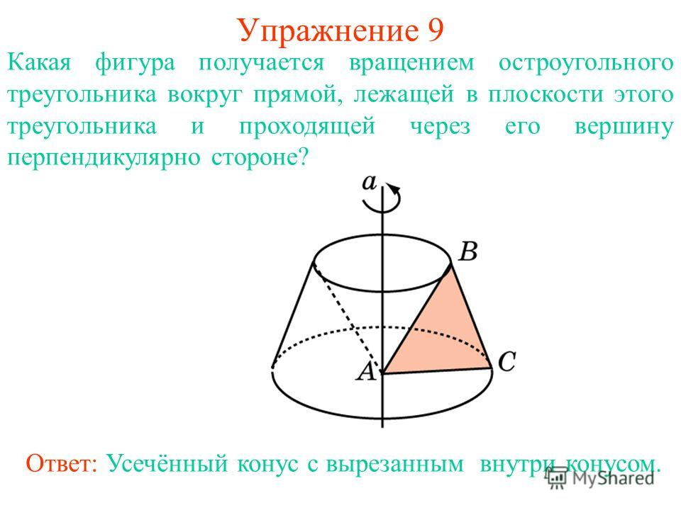 Упражнение 9 Ответ: Усечённый конус с вырезанным внутри конусом. Какая фигура получается вращением остроугольного треугольника вокруг прямой, лежащей в плоскости этого треугольника и проходящей через его вершину перпендикулярно стороне?