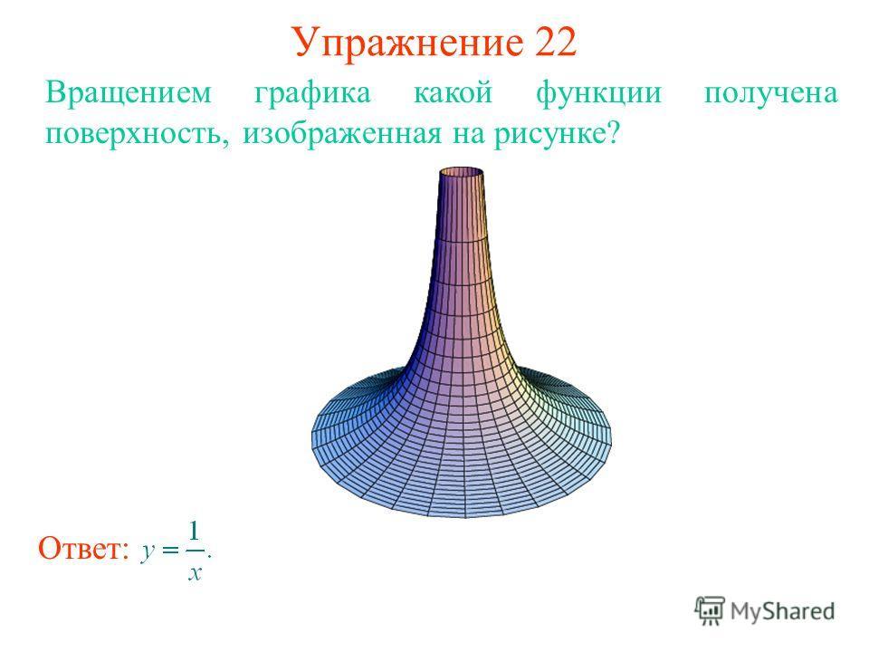 Упражнение 22 Вращением графика какой функции получена поверхность, изображенная на рисунке? Ответ: