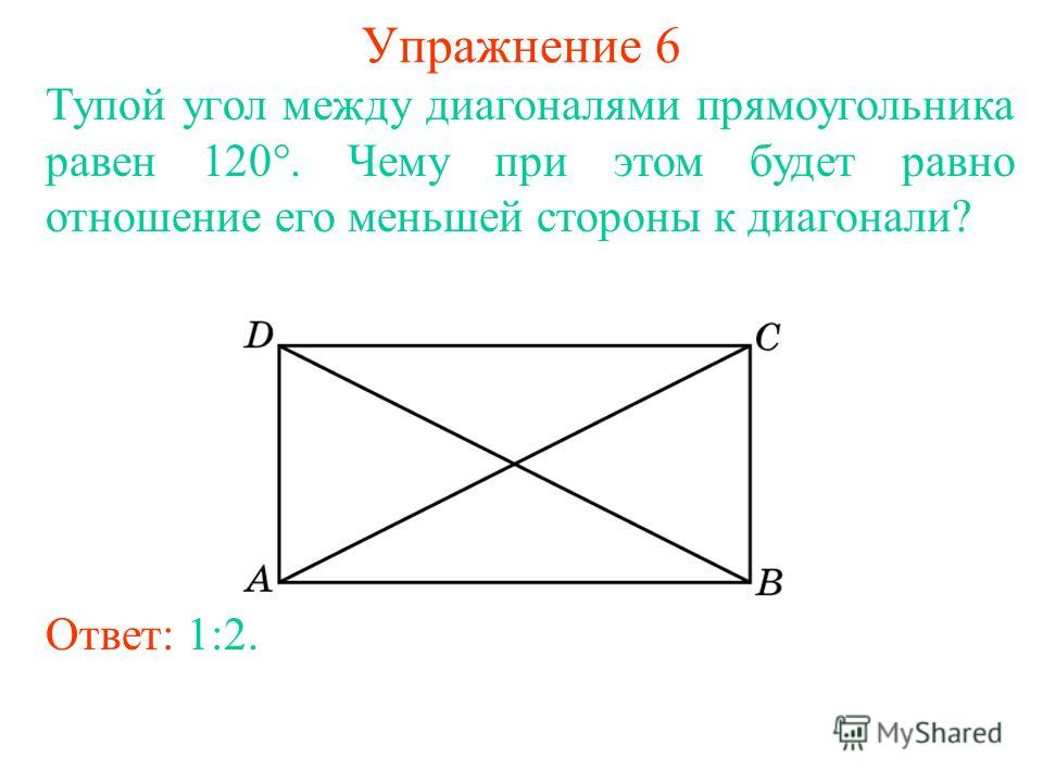 Упражнение 6 Тупой угол между диагоналями прямоугольника равен 120. Чему при этом будет равно отношение его меньшей стороны к диагонали? Ответ: 1:2.