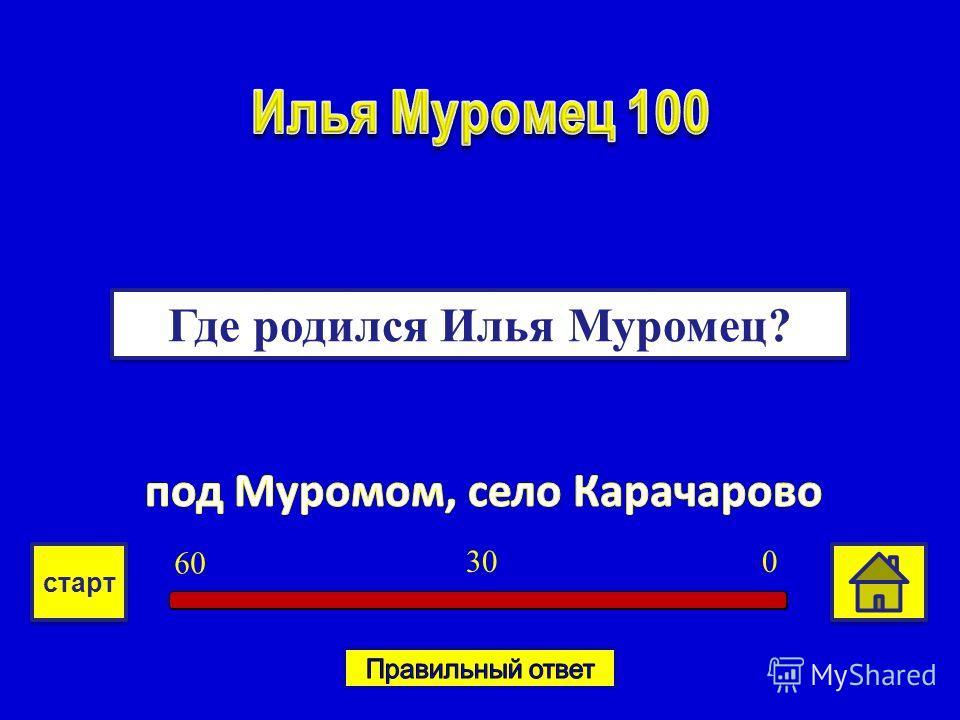 Где родился Илья Муромец? 030 6060 старт