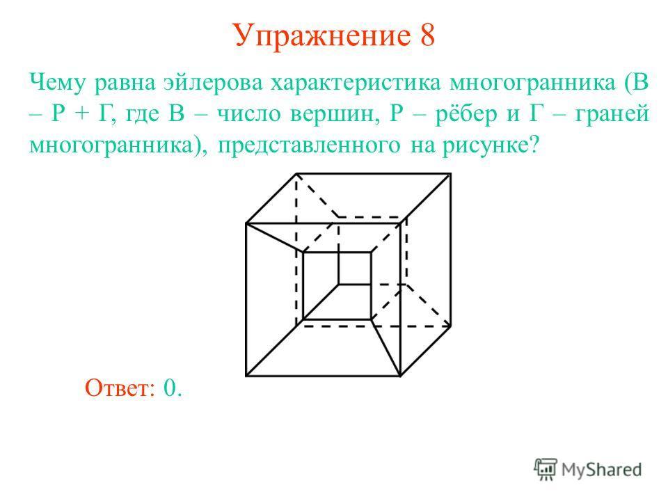 Упражнение 8 Чему равна эйлерова характеристика многогранника (В – Р + Г, где В – число вершин, Р – рёбер и Г – граней многогранника), представленного на рисунке? Ответ: 0.