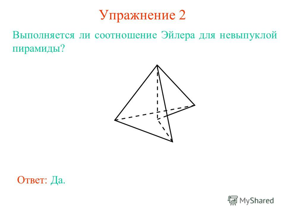 Упражнение 2 Выполняется ли соотношение Эйлера для невыпуклой пирамиды? Ответ: Да.