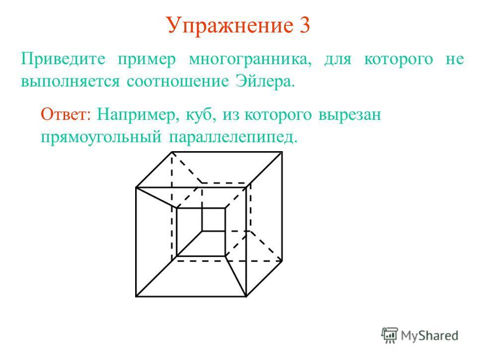 Упражнение 3 Приведите пример многогранника, для которого не выполняется соотношение Эйлера. Ответ: Например, куб, из которого вырезан прямоугольный параллелепипед.