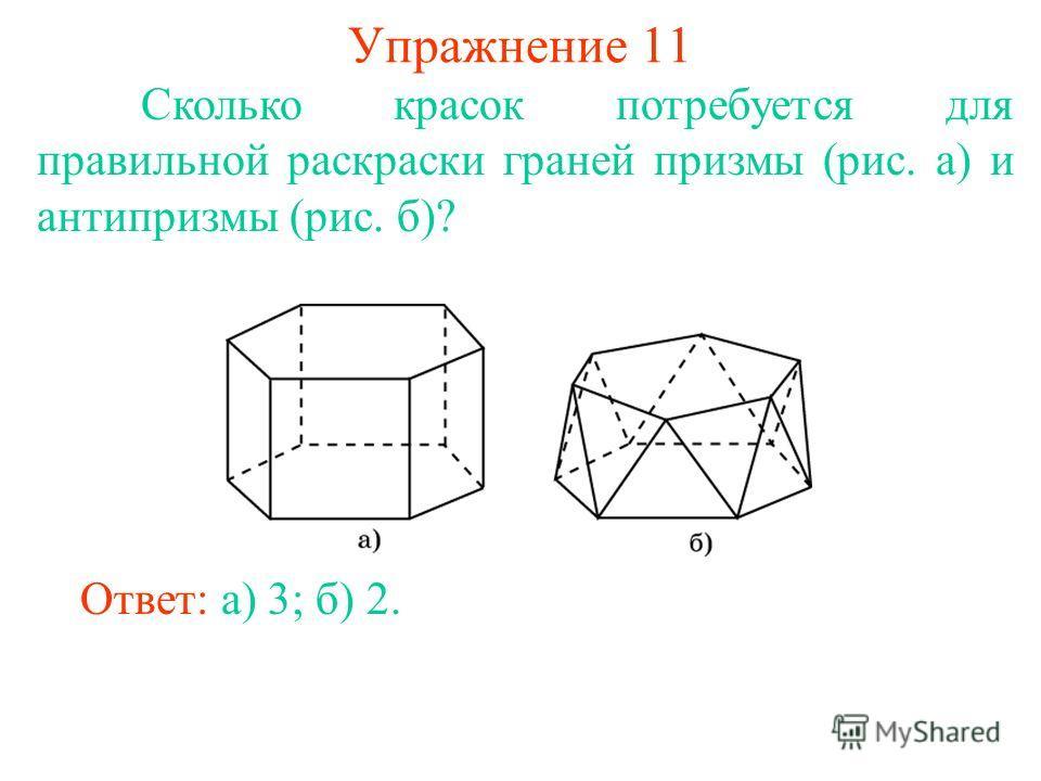 Упражнение 11 Сколько красок потребуется для правильной раскраски граней призмы (рис. а) и антипризмы (рис. б)? Ответ: а) 3; б) 2.