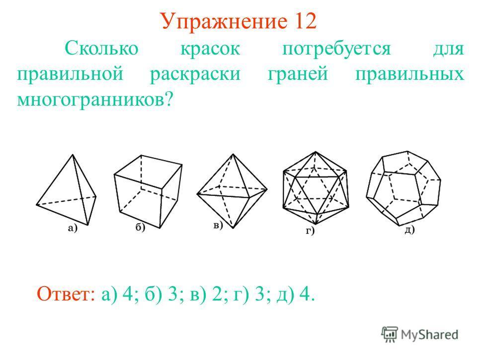 Упражнение 12 Сколько красок потребуется для правильной раскраски граней правильных многогранников? Ответ: а) 4; б) 3; в) 2; г) 3; д) 4.