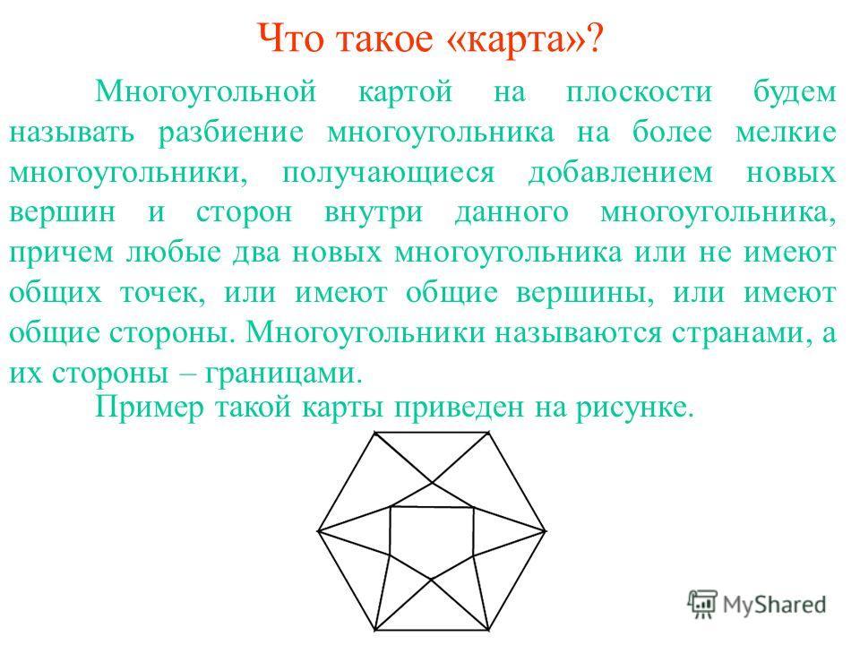 Что такое «карта»? Многоугольной картой на плоскости будем называть разбиение многоугольника на более мелкие многоугольники, получающиеся добавлением новых вершин и сторон внутри данного многоугольника, причем любые два новых многоугольника или не им