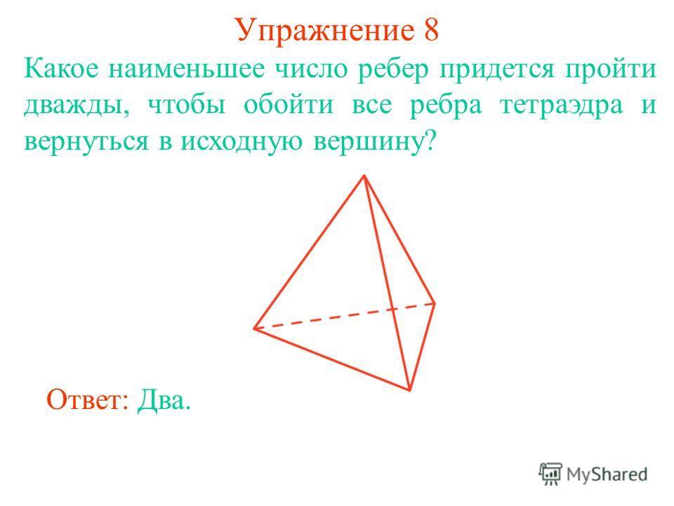 Упражнение 8 Какое наименьшее число ребер придется пройти дважды, чтобы обойти все ребра тетраэдра и вернуться в исходную вершину? Ответ: Два.