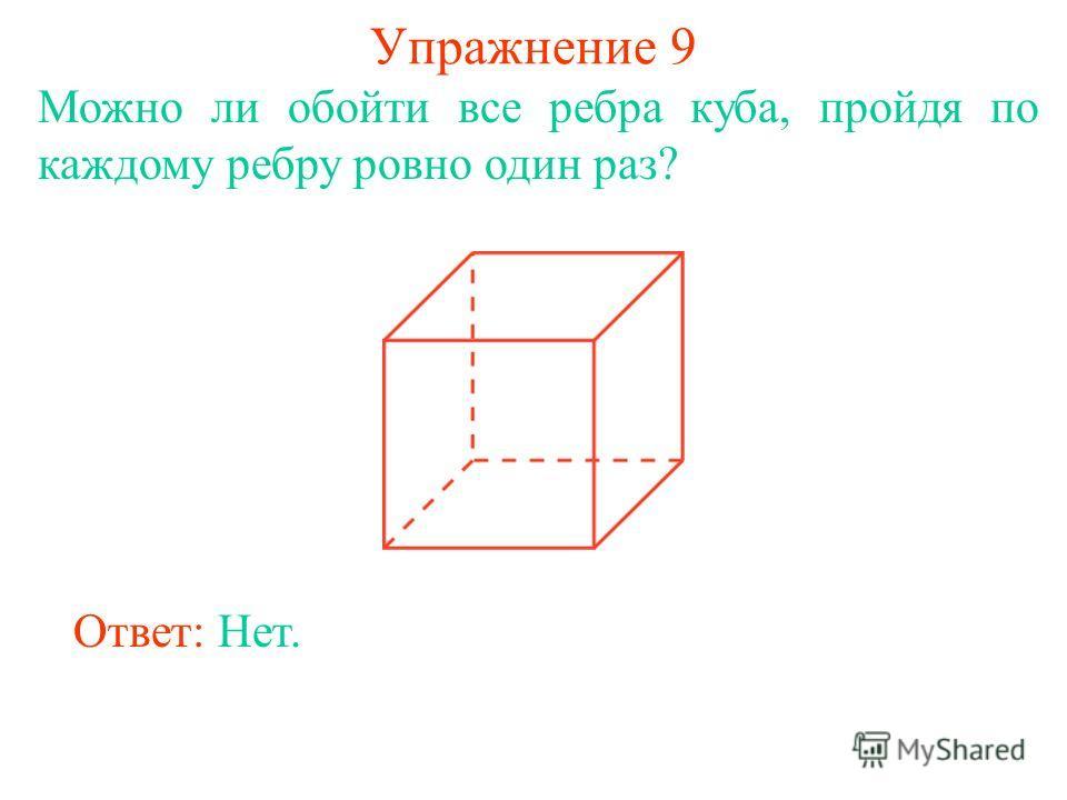 Упражнение 9 Можно ли обойти все ребра куба, пройдя по каждому ребру ровно один раз? Ответ: Нет.