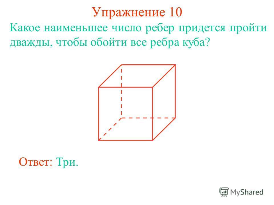 Упражнение 10 Какое наименьшее число ребер придется пройти дважды, чтобы обойти все ребра куба? Ответ: Три.