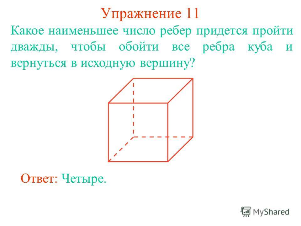 Упражнение 11 Какое наименьшее число ребер придется пройти дважды, чтобы обойти все ребра куба и вернуться в исходную вершину? Ответ: Четыре.