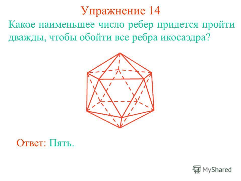 Упражнение 14 Какое наименьшее число ребер придется пройти дважды, чтобы обойти все ребра икосаэдра? Ответ: Пять.