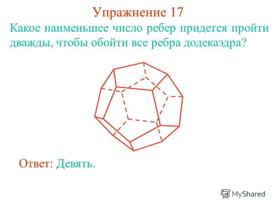 Упражнение 17 Какое наименьшее число ребер придется пройти дважды, чтобы обойти все ребра додекаэдра? Ответ: Девять.