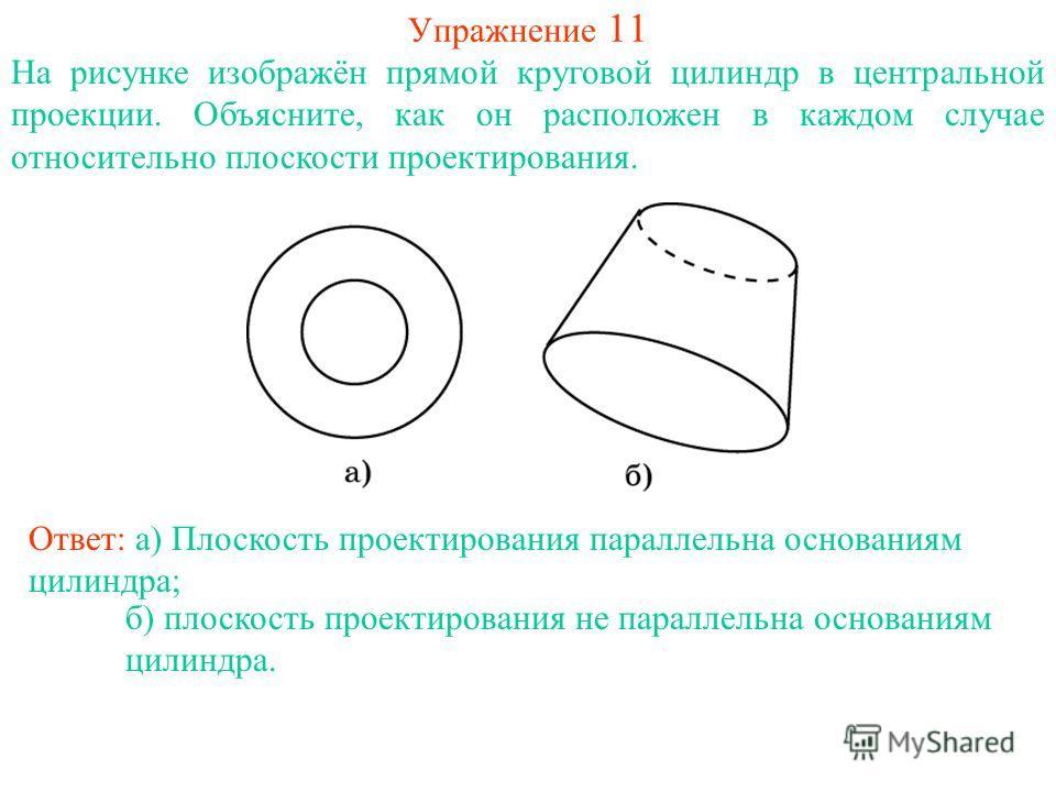 Упражнение 11 На рисунке изображён прямой круговой цилиндр в центральной проекции. Объясните, как он расположен в каждом случае относительно плоскости проектирования. Ответ: а) Плоскость проектирования параллельна основаниям цилиндра; б) плоскость пр