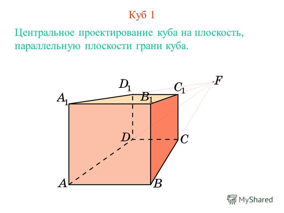 Куб 1 Центральное проектирование куба на плоскость, параллельную плоскости грани куба.