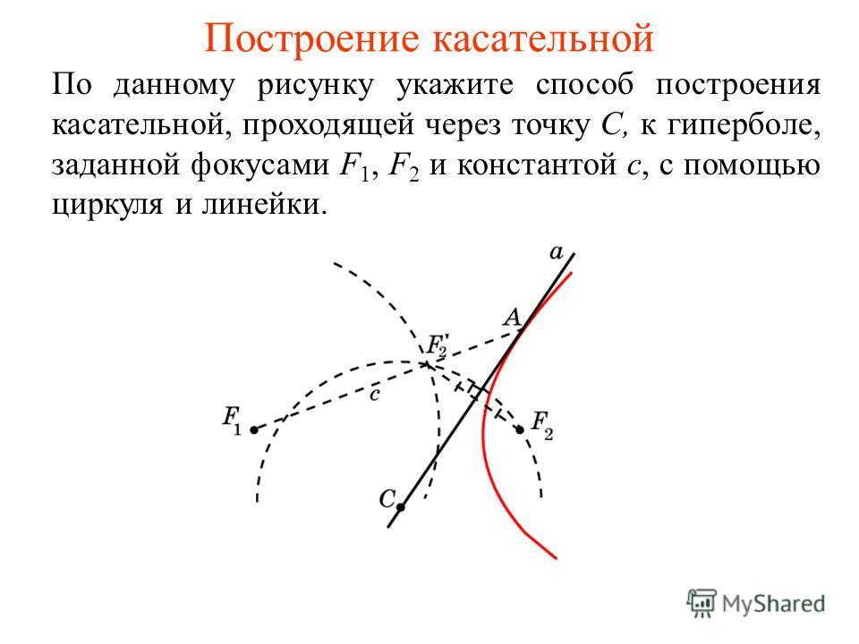 Построение касательной По данному рисунку укажите способ построения касательной, проходящей через точку C, к гиперболе, заданной фокусами F 1, F 2 и константой c, с помощью циркуля и линейки.