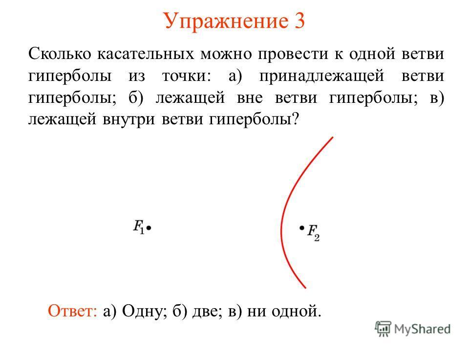 Упражнение 3 Сколько касательных можно провести к одной ветви гиперболы из точки: а) принадлежащей ветви гиперболы; б) лежащей вне ветви гиперболы; в) лежащей внутри ветви гиперболы? Ответ: а) Одну; б) две; в) ни одной.