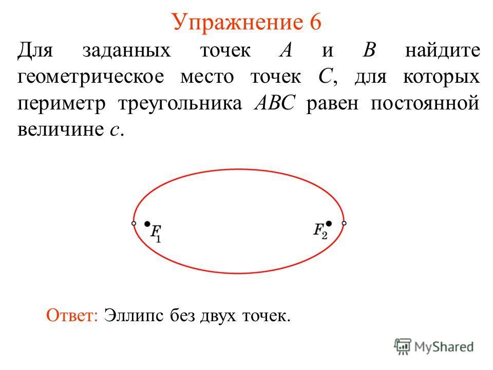 Упражнение 6 Для заданных точек А и В найдите геометрическое место точек С, для которых периметр треугольника АВС равен постоянной величине с. Ответ: Эллипс без двух точек.