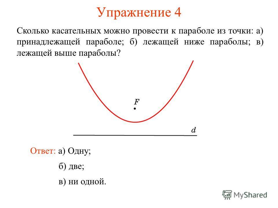 Упражнение 4 Сколько касательных можно провести к параболе из точки: а) принадлежащей параболе; б) лежащей ниже параболы; в) лежащей выше параболы? Ответ: а) Одну; б) две; в) ни одной.