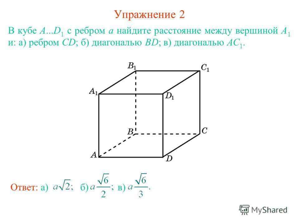 Упражнение 2 В кубе А...D 1 с ребром а найдите расстояние между вершиной А 1 и: а) ребром CD; б) диагональю BD; в) диагональю АС 1. Ответ: а) б) в)в)