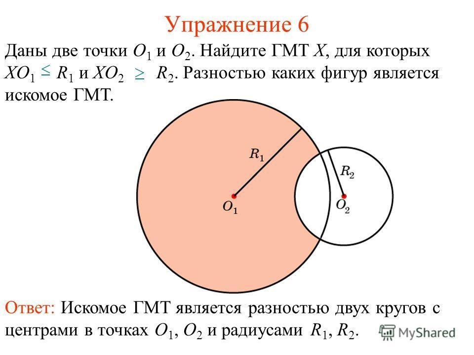 Упражнение 6 Ответ: Искомое ГМТ является разностью двух кругов с центрами в точках O 1, O 2 и радиусами R 1, R 2. Даны две точки O 1 и O 2. Найдите ГМТ X, для которых XO 1 R 1 и XO 2 R 2. Разностью каких фигур является искомое ГМТ.