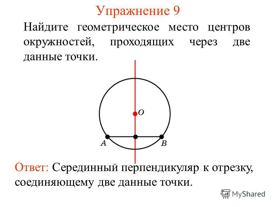 Упражнение 9 Найдите геометрическое место центров окружностей, проходящих через две данные точки. Ответ: Серединный перпендикуляр к отрезку, соединяющему две данные точки.