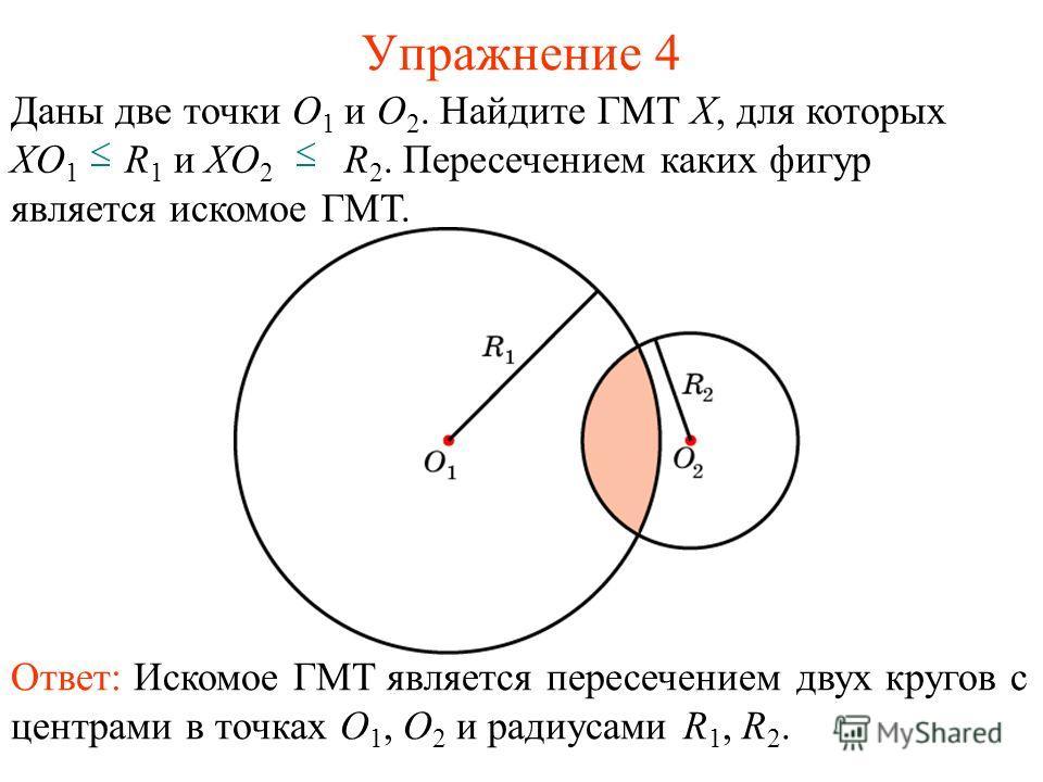 Упражнение 4 Ответ: Искомое ГМТ является пересечением двух кругов с центрами в точках O 1, O 2 и радиусами R 1, R 2. Даны две точки O 1 и O 2. Найдите ГМТ X, для которых XO 1 R 1 и XO 2 R 2. Пересечением каких фигур является искомое ГМТ.
