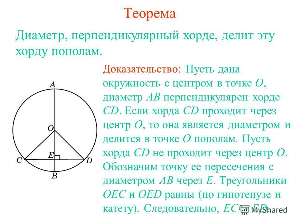 Теорема Диаметр, перпендикулярный хорде, делит эту хорду пополам. Доказательство: Пусть дана окружность с центром в точке О, диаметр АВ перпендикулярен хорде CD. Если хорда CD проходит через центр О, то она является диаметром и делится в точке О попо