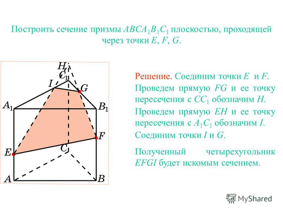 Построить сечение призмы ABCA 1 B 1 C 1 плоскостью, проходящей через точки E, F, G. Решение. Соединим точки E и F. Проведем прямую FG и ее точку пересечения с CC 1 обозначим H. Проведем прямую EH и ее точку пересечения с A 1 C 1 обозначим I. Соединим